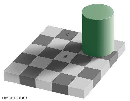 un échiquier où deux cases de la même couleur grise semblent de teinte différente