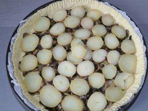3 - Placer votre pâte feuilletée dans un moule à tarte, piquer avec une fourchette sur toute la surface et décorer les bords. Etaler successivement une couche d'emmental râpé, l'oignon et l'échalote revenus, les  champignons, les pommes de terre, saupoudrer d'un peu de persil haché, saler et poivrer légèrement et terminer par une nouvelle couche d'emmental râpé. Mettre au four th 7 (210°) pour 20 à 25 mn environ (suivant les fours).