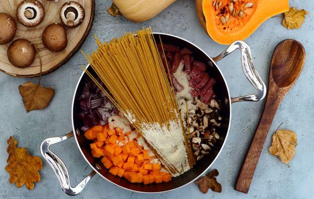 One pot pasta d'automne: butternut, champignons, bacon et parmesan