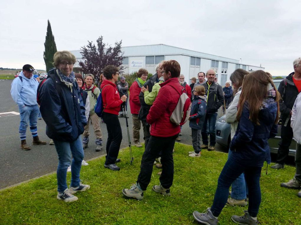 Avant le départ, les marcheurs discutent par petits groupes.