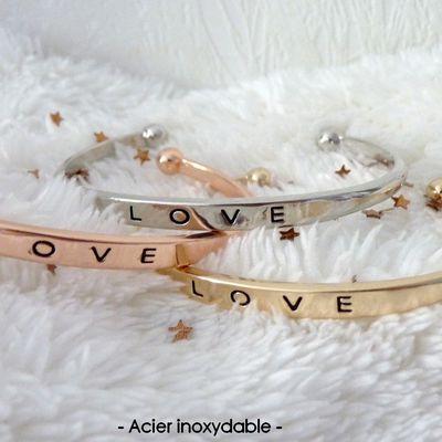 Jolis bracelets LOVE, en acier inoxydable, 3 coloris au choix