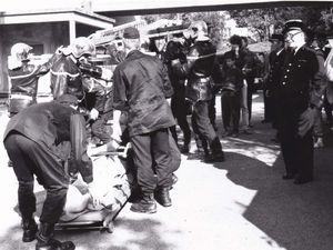 Manoeuvres des sapeurs pompiers à l'hôpital d'Algrange en 1992