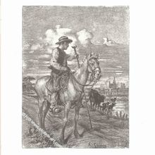 Homme à cheval, Lithographie d'Adolphe Gumery (1861-1943)