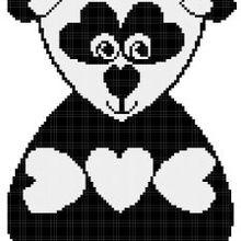 Ma grille gratuite du jour: le panda coeur !