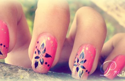 Stamping nail art rose noir et doré