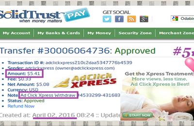 Ad Click Xpress Withdrawal Proof # 5