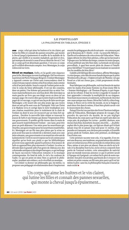 Michel Onfray - Le crocodile d'Aristote (extraits) - Le Point - 25.07 au 22.08.2019