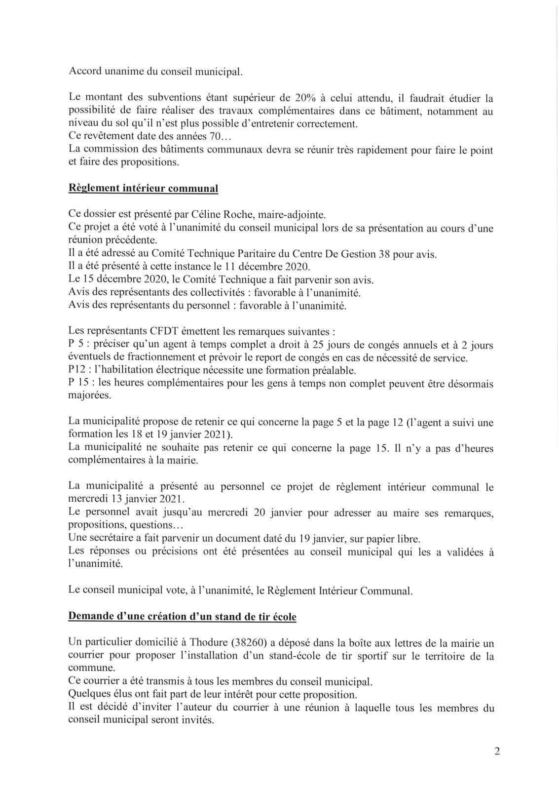 COMPTE RENDU DU CONSEIL MUNICIPAL DU 21 JANVIER 2021