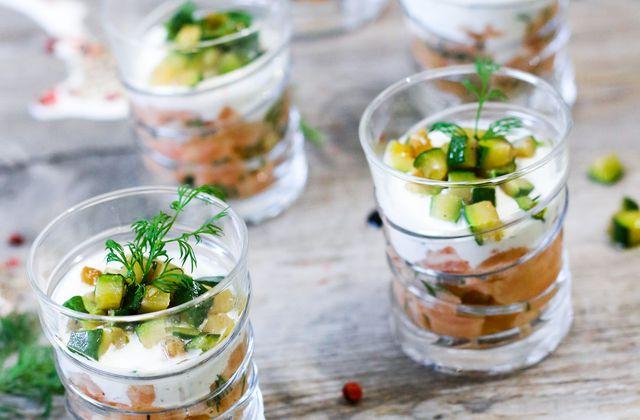 Verrine tartare de saumon à l'Aneth et courgettes poêlées