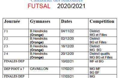 Calendrier AS Futsal 2020-2021