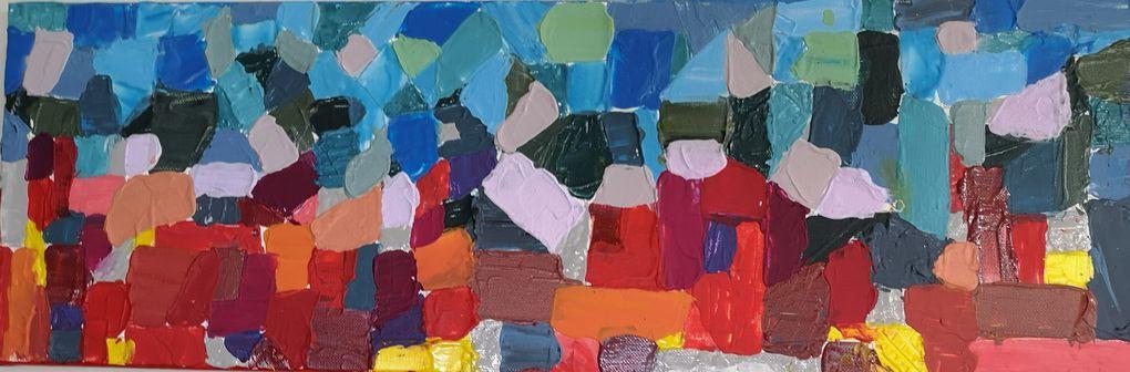 En s'inspirant de Paul Klee, acryliques sur toile