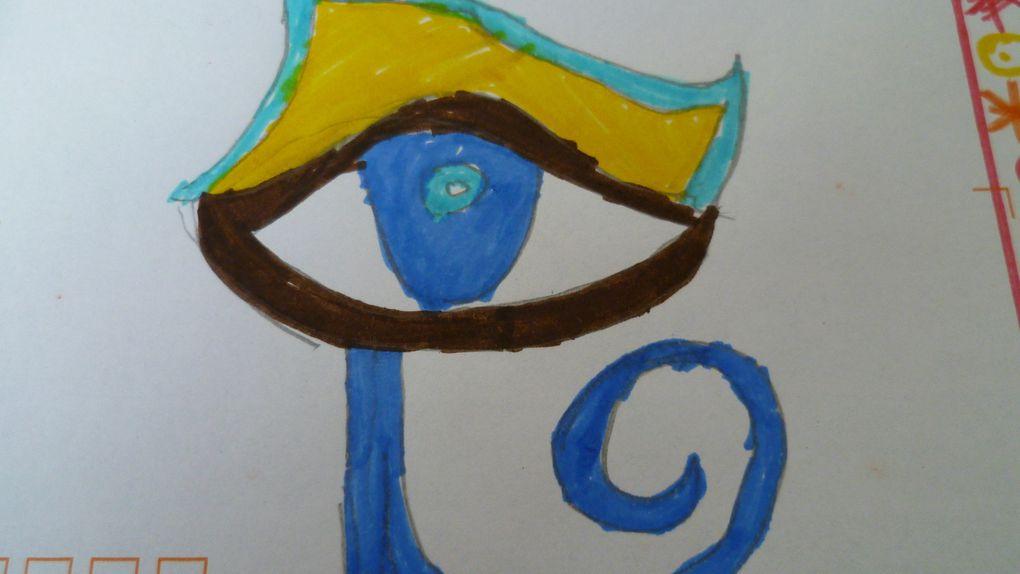 cycle 4: jeux et création sur les thèmes de l'art égyptien, d'astérix et obélix (antiquité): arbre généalogique avec des lettres égyptiennes, enveloppe oeil égyptien, couronne initiales, bracelet prénom, jeu pyramide, coloriages, guirlande coeurs, ...
