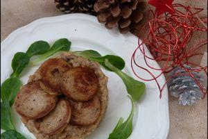 Risotto aux cèpes et sa rosace de boudin blanc aux cèpes (menu de Noël à 5 euros par personne)
