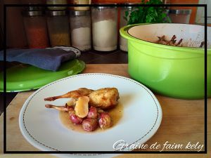 Cailles rôties aux raisins, navets jus vanillé