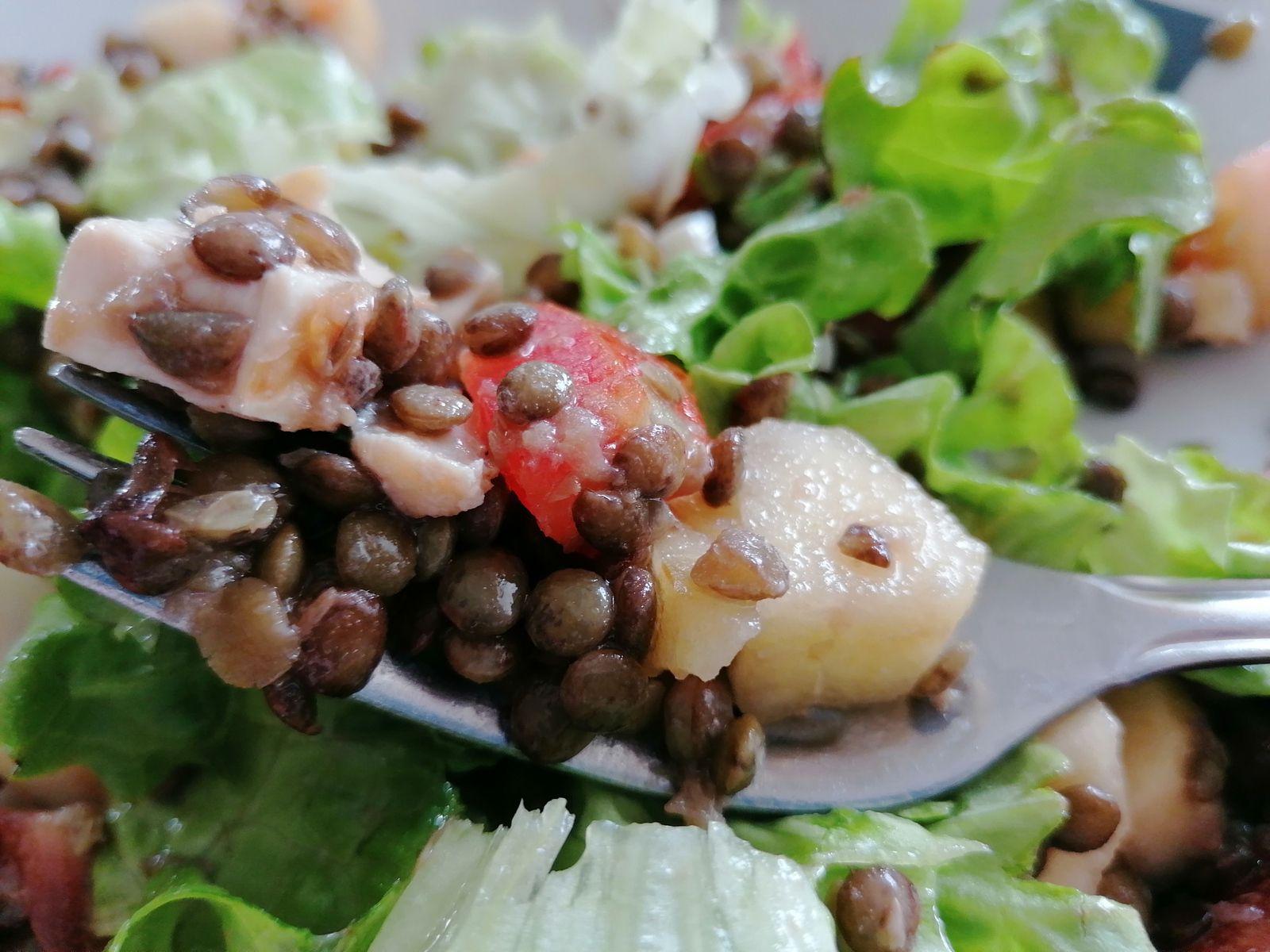 Salade de lentilles vertes au poulet