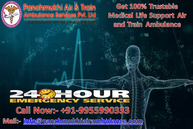 Get Fast Medical Life Support Train Ambulance from Patna to Delhi by Panchmukhi