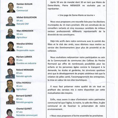 ELECTIONS MUNICIPALES 2020 - DAME MARIE - LISTE D'INTERET COMMUNAL - PROJETS DE CAMPAGNE