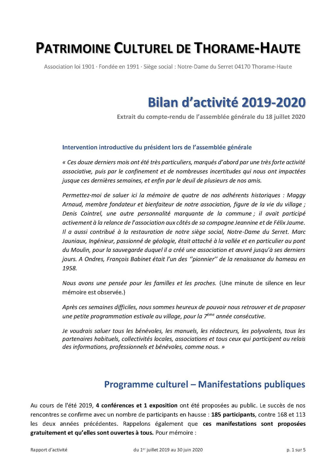 Le bilan d'activité 2019-2020 de l'association du Patrimoine Culturel de Thorame Haute