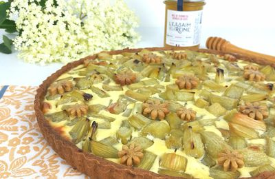 Tarte à la rhubarbe et miel de tournesol