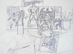 Nature morte BD Les comics- Le mammouth. Dessins et études accompagnant le tableau en cours Bhavsar