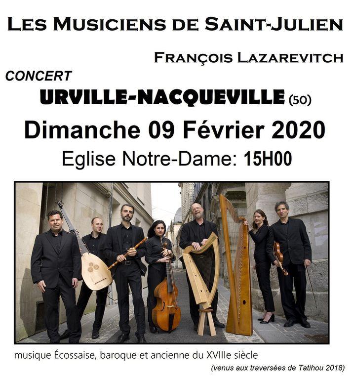 OUVERTURE BILLETTERIE - LES MUSICIENS DE SAINT JULIEN - concert a URVILLE NACQUEVILLE !