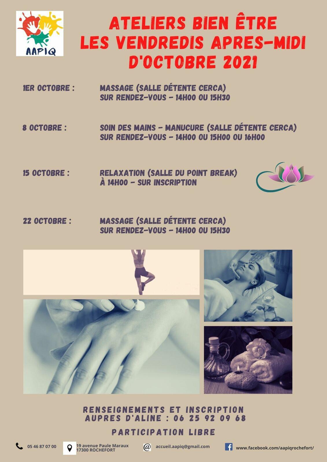 ATELIERS BIEN-ÊTRE D'OCTOBRE 2021