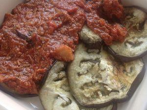gratin d'aubergine, sauce aux restes