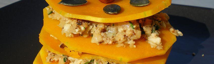 millefeuille de butternut aux shiitakés