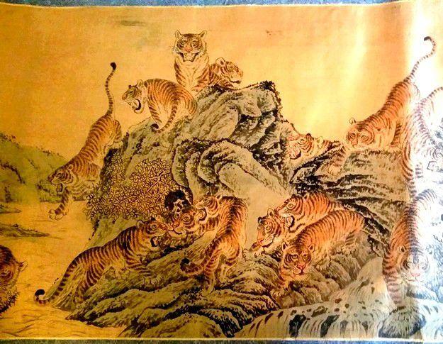 Peinture Chinoise  Tigres  – Kakemono