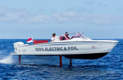 The Swedish Candela C-7, the first flying electric boat, wins the race