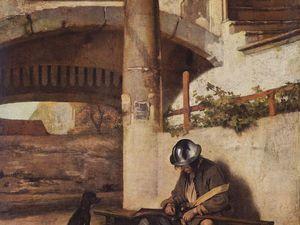 Autoportrait - 1654 - 70,5x61,5cm - National Gallery Londres ; La sentinelle - 1654 - 68x58cm Staatliches Museum, Schwerin ; Vue de Delft et Echoppe d'un marchand d'instruments - 1652 - 15,4x31,6cm - National Gallery Londres