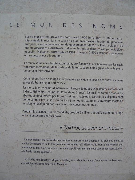 Mémorial de la Shoah, ouvert au public le 27 janvier 2005 à l'occasion du soixantième anniversaire de la libération du camp d'Auschwitz et de la Journée européenne de la mémoire de l'Holocauste et de la prévention des crimes contre l'humanit