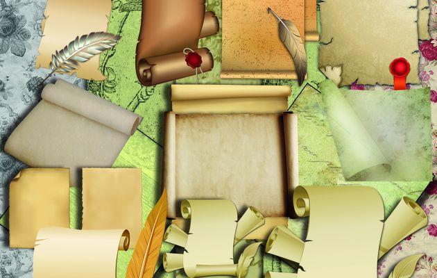 Kit scrapbooking - Art Digital - Parchment, Scrolls, Paper vintage, Backgrounds, en téléchargement