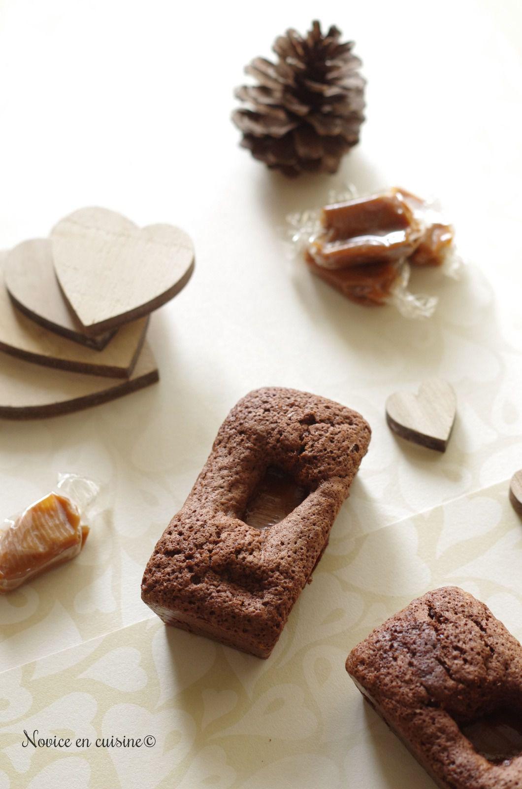 Petits cakes chocolat cœur caramel beurre salé
