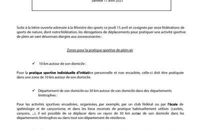 Communiqué fédéral (COVID 19) : Zones pour la pratique sportive de plein air