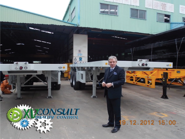"""Export China, manufacturing, quality control , semi trailers flatbed 20"""" 2 axles , transport and export service . :info@xvconsult.com"""