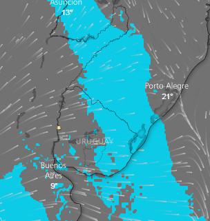 En imagenes de Windy se observa el desplazamiento de tormenta hacia NE y E
