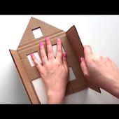 4 ideas for miniature houses   DIY Miniature cardboard house   Cardboard craft idea