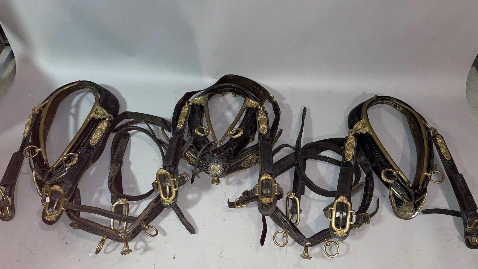 Rare harnais de gala aux armoiries d'alliance de son Excellence l'Ambassadeur Melchior de Vogüé et de Claire des Montiers-Mérinville Comprend : 4 colliers, 3 mantelets, partie de traits, belle garniture en métal doré, (nombreux manques).
