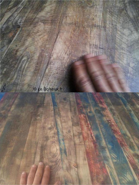 L'aspect brut et bourru du bois constituant les plateaux est un effet visuel seulement. Un rendu recherché.
