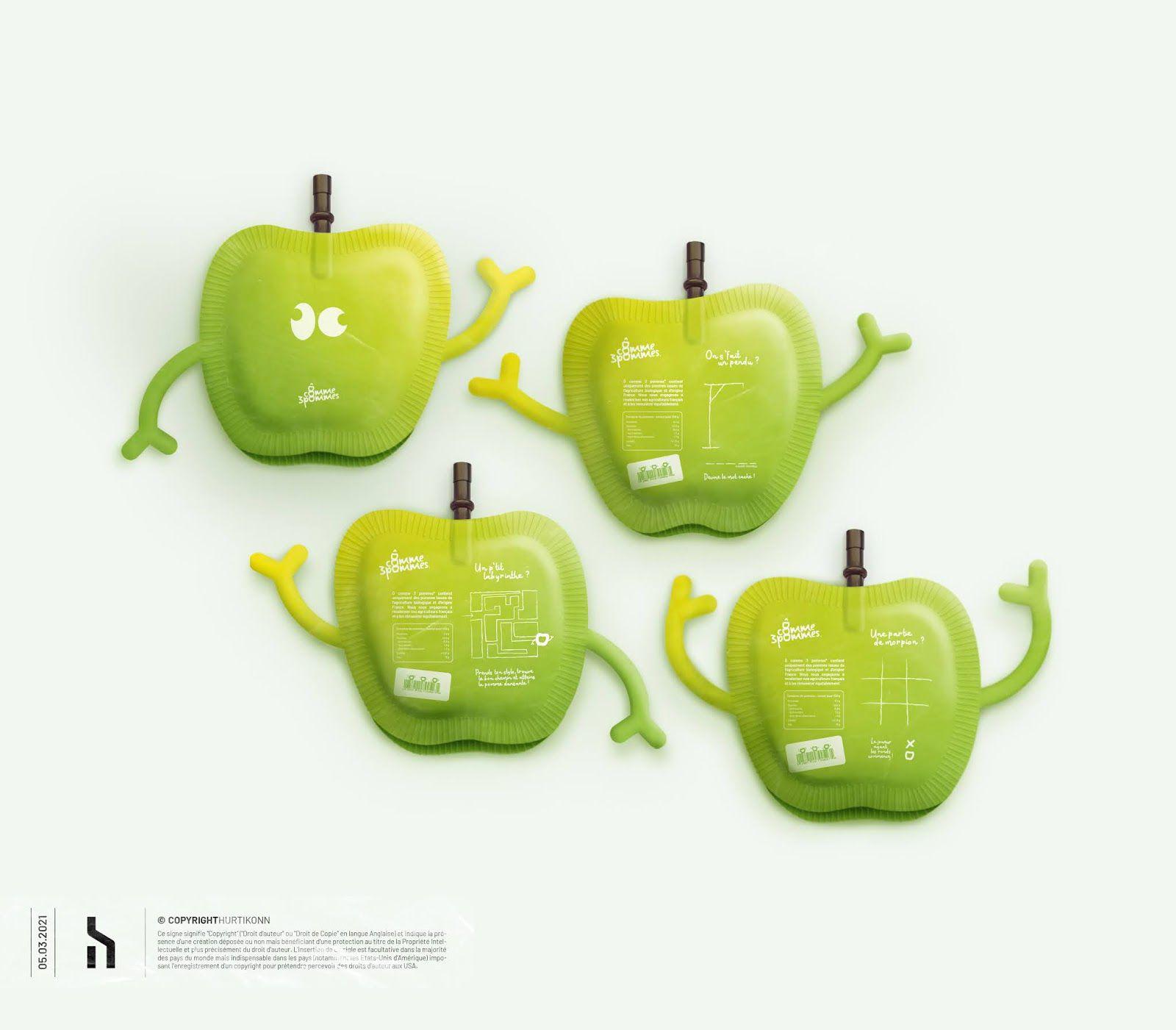 Ô comme trois pommes (compotes de fruits) I Design (projet étudiant) :  Hurtikonnn, France (mars 2020)