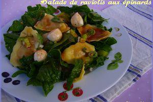 Salade de raviolis aux épinards