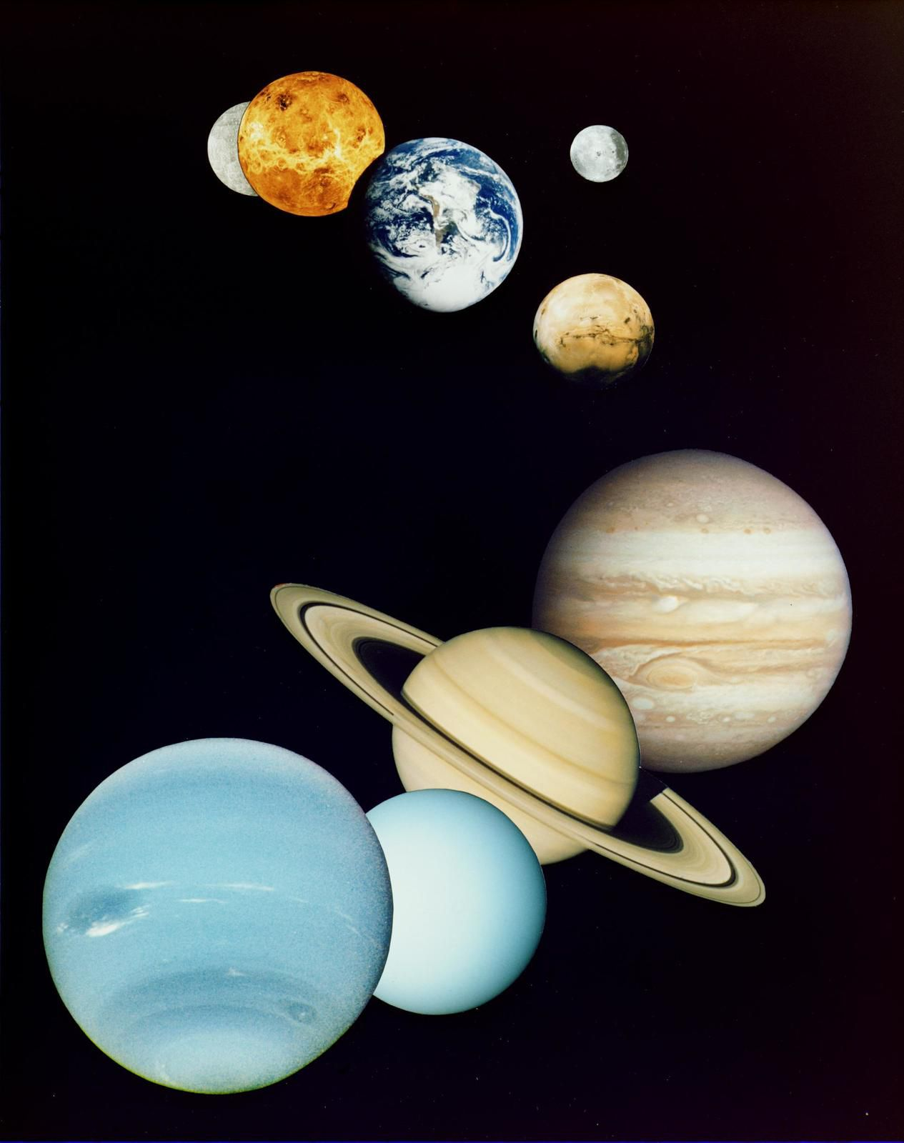 Mercury, Venus, Earth and Moon, Mars, Jupiter, Saturn, Uranus and Neptune (NASA/JPL)