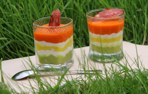 Verrines apéritives tricolores aux poivrons (au Thermomix)
