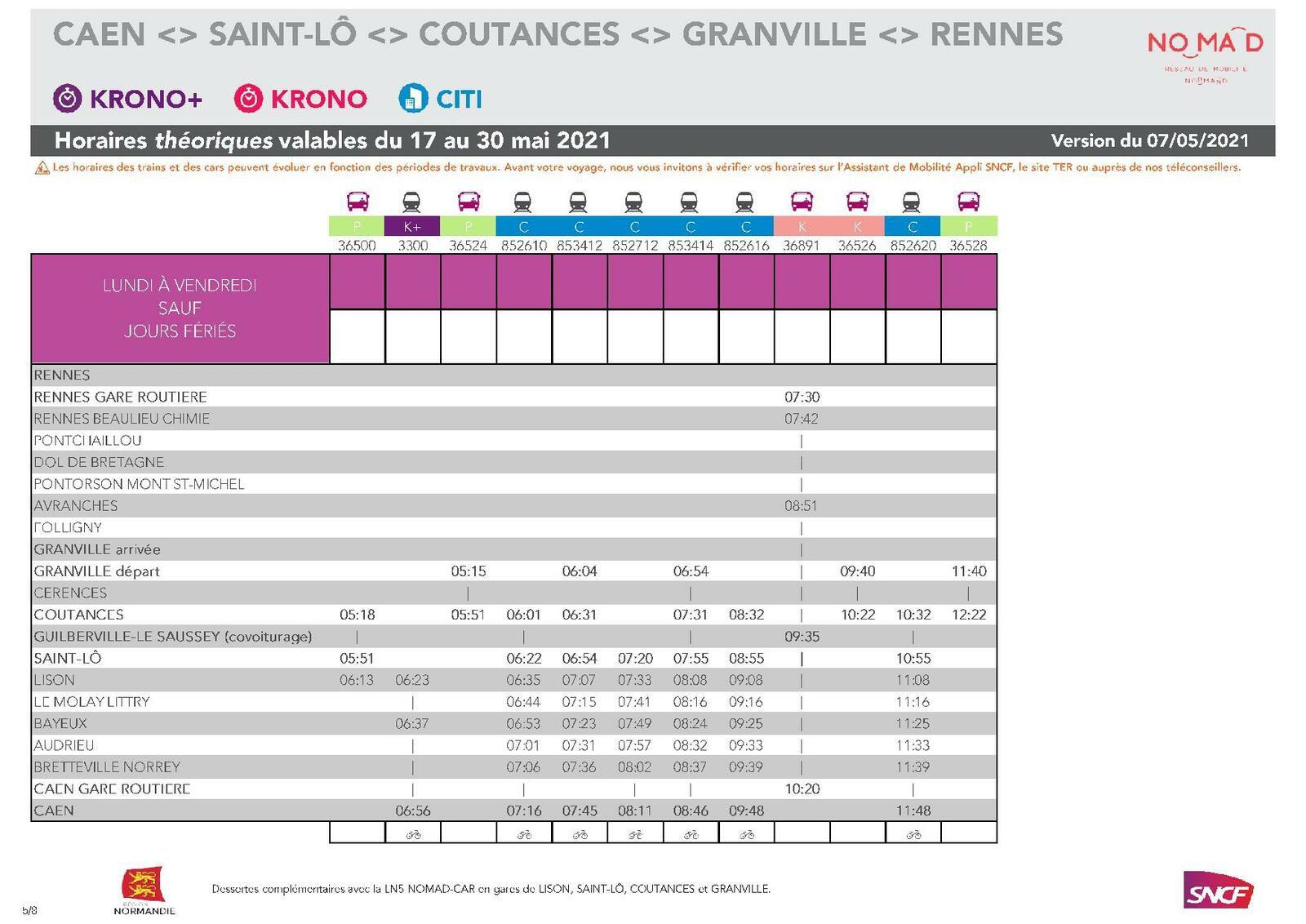Rennes > Caen du 17 au 30 mai 2021 - Version du 7.05.2021