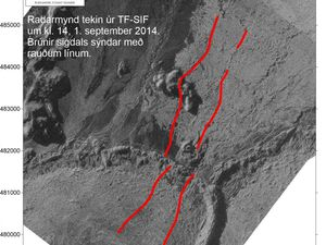 Radar images of the graben (rift) - one click to enlarge - doc. University of Iceland