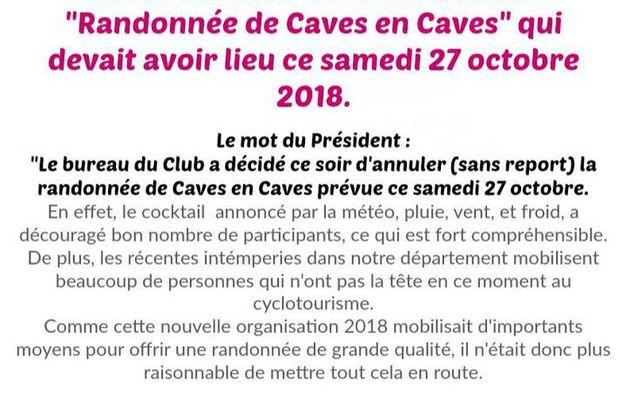 ANNULATION DE LA RANDONNÉE DE CAVES EN CAVES PRÉVUE SAMEDI 27 OCTOBRE 2018