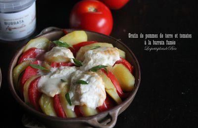 Gratin de pommes de terre et tomates à la burrata fumée