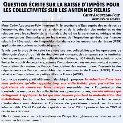 Baisse d'impôts pour les collectivités sur les antennes relais : Cathy Apourceau-Poly interpelle le secrétaire d'Etat Cédric O