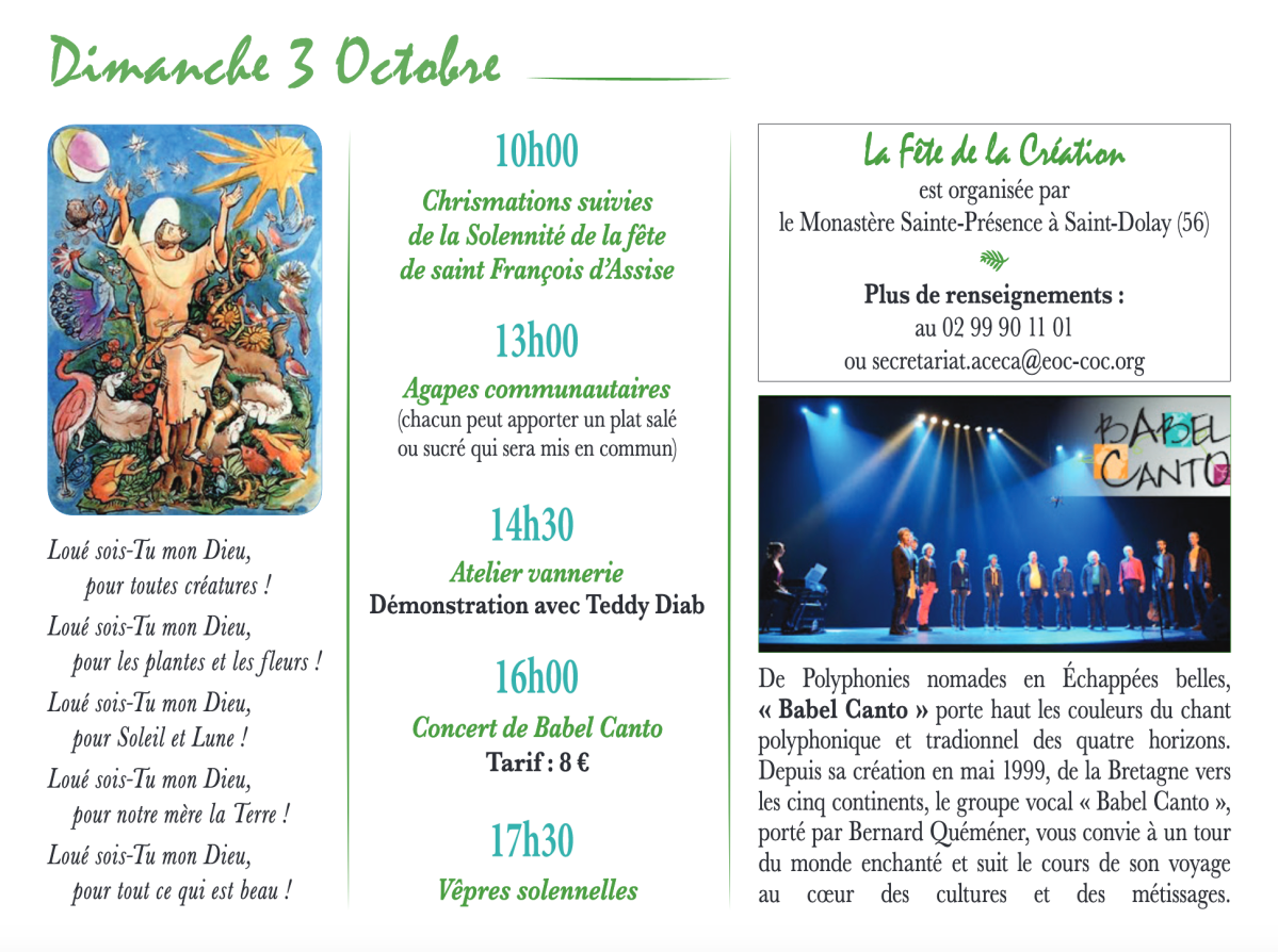 Pour les bretons : Fêtes de la Création et de saint François d'Assise